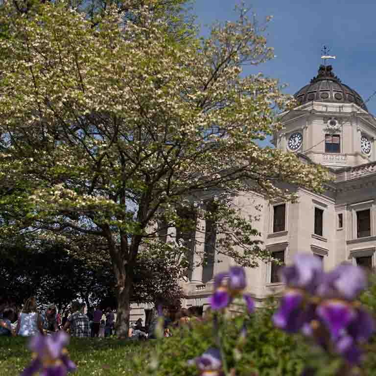 The courthouse in Bloomington's town square is surrounded by trees, grass, and flowers.
