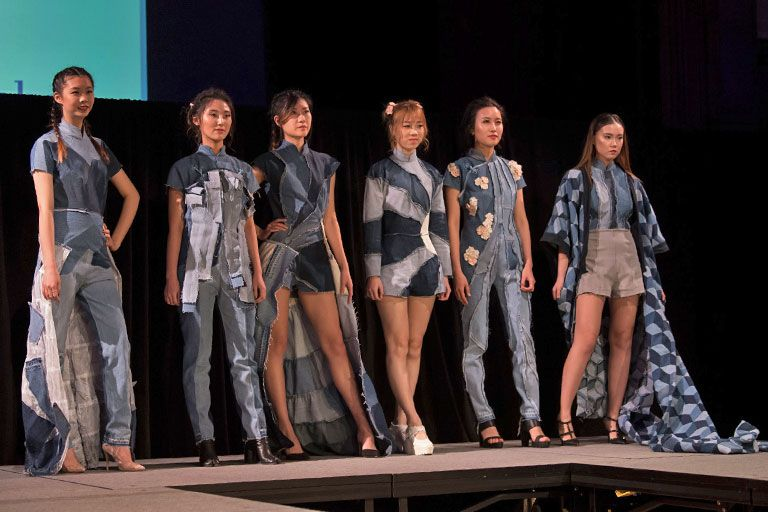 Models wear fashions created by IU students.