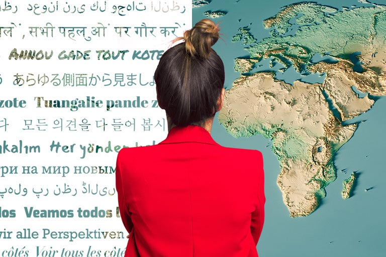 A composite image of a woman looking at a map and words in different languages.
