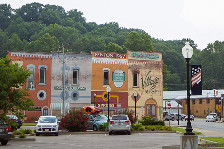 Buildings on a square in French Lick, Orange County, Indiana