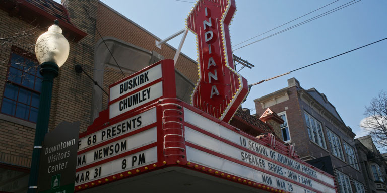A close up of the marquee at the Buskirk Chumley Theater.